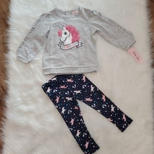 NWT 2T toddler girl unicorn outfit by Little Lass